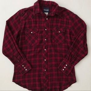 Wrangler Pearl Snap Flannel Top